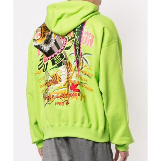 doublet neon green three dimension hoodie as seen on Rihanna