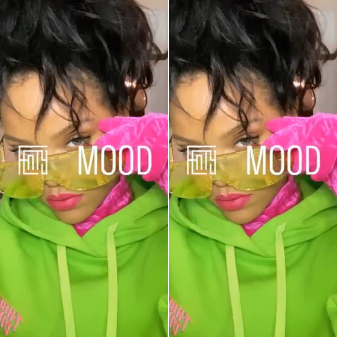 Rihanna doublet green hoodie three dimension, Fenty blockt sunglasses, Balenciaga pink velour turtleneck with gloves
