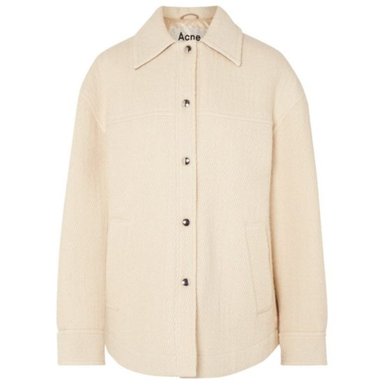 Acne Studios Ocilia beige snap button jacket as seen on Rihanna