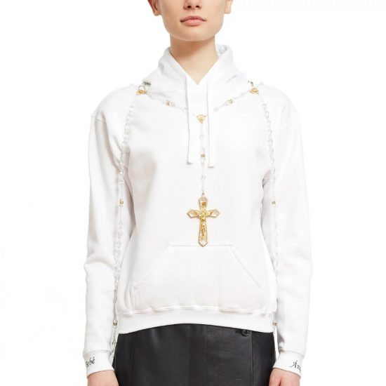 Baby Angel white rosary hoodie as seen on Rihanna