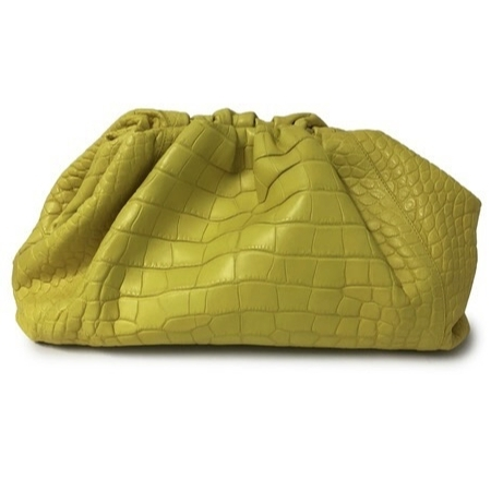 Bottega Veneta The Pouch clutch in yellow crocodile as seen on Rihanna