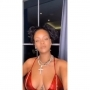 Rihanna in a red bra