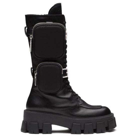 Prada Monolith black chunky boots with pouches as seen on Rihanna