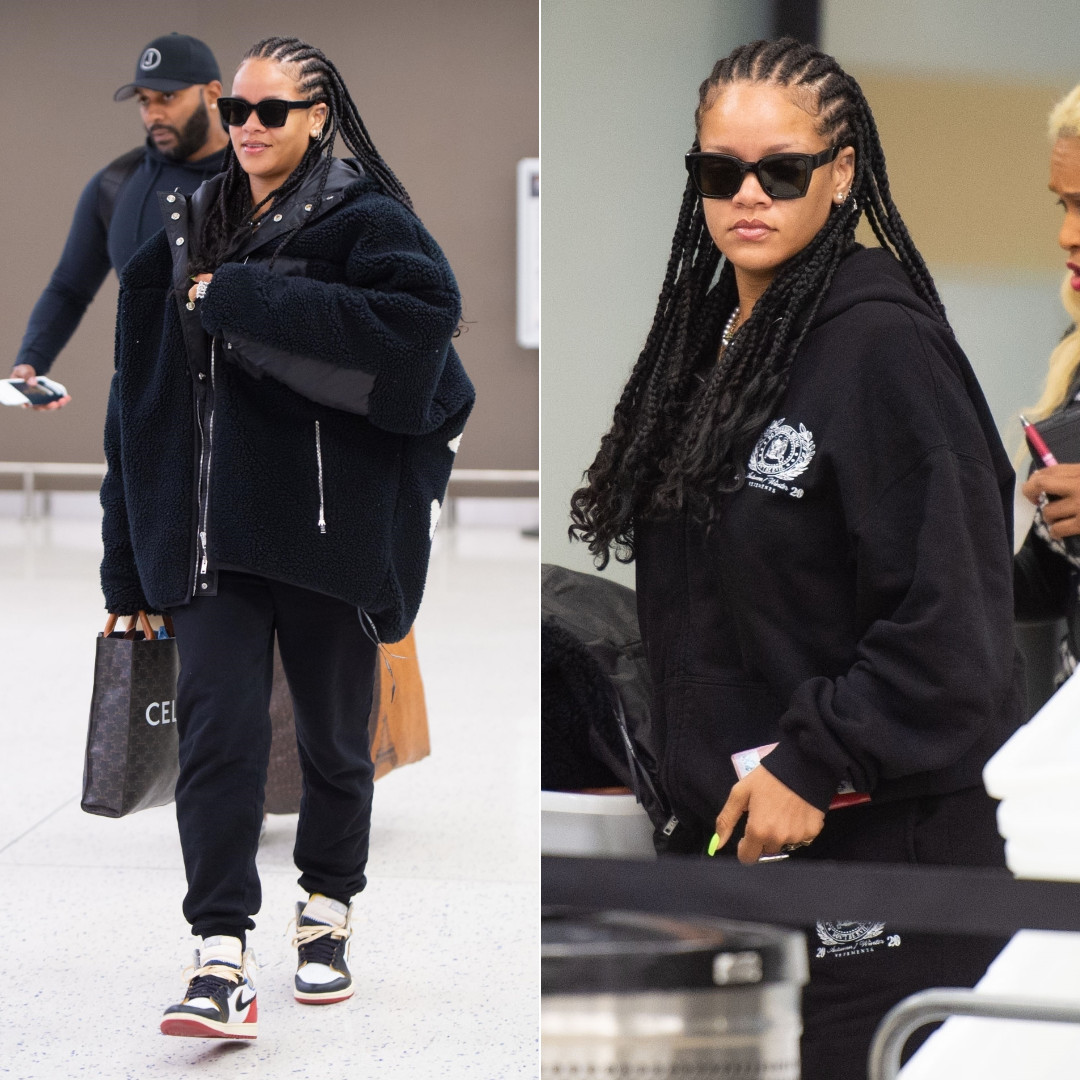 Rihanna fleec skull jacket Mastermind, Vetements patch embroidered hoodie and sweatpants, Nike x Union Los Angeles Air Jordan 1, Loree Rodkin double r ring, Celine vertical cabas tote