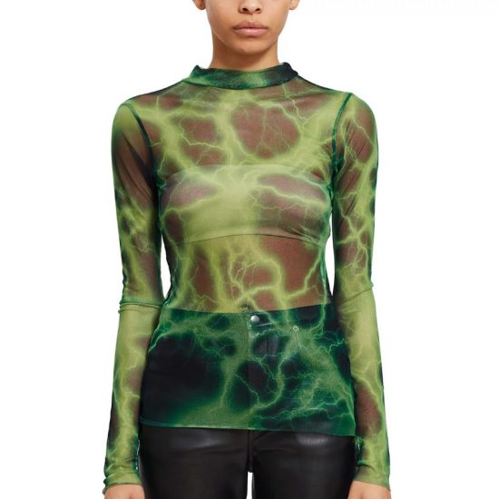 Scent Thunder second skin green mesh top as seen on Rihanna