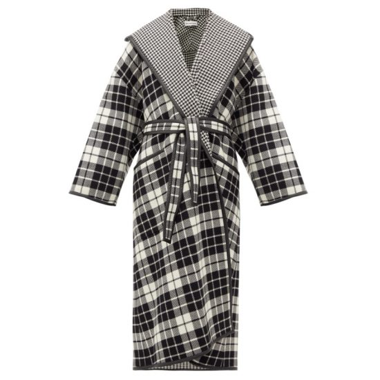 Balenciaga black and white check and houndstooth coat a seen on Rihanna