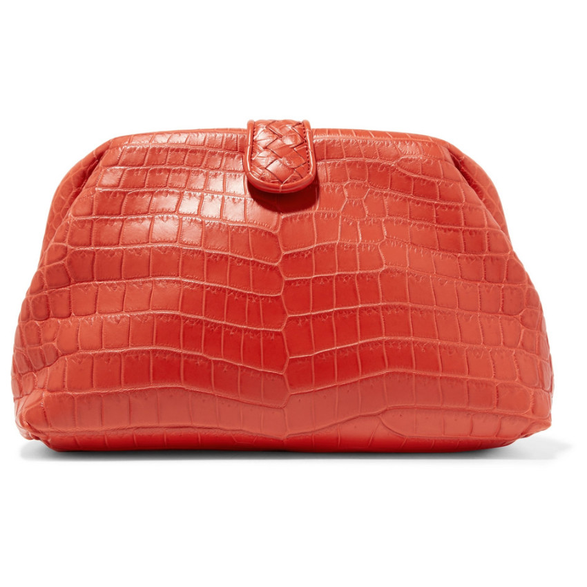 Bottega Veneta Lauren 1980 crocodile leather clutch in red as seen on Rihanna