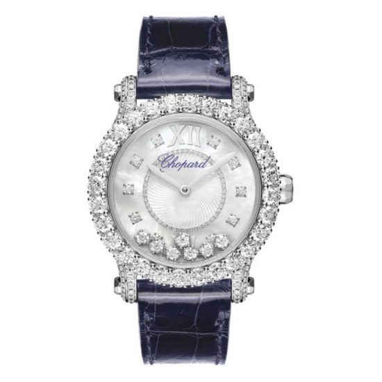 Chopard Happy Sport diamond and leather watch as seen on Rihanna