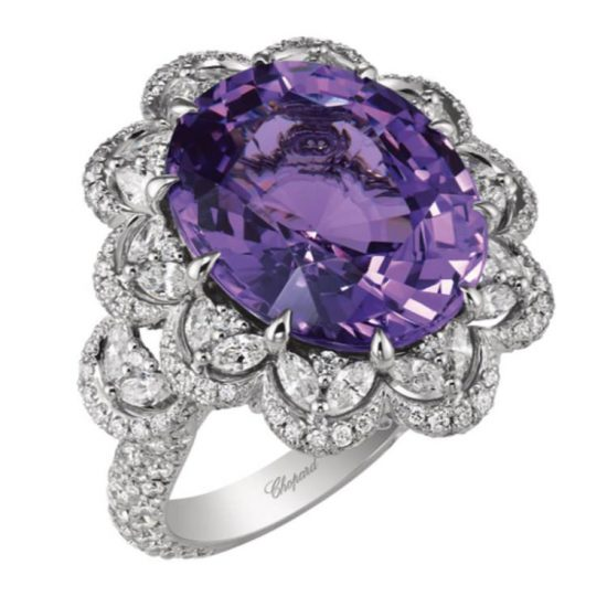 Chopard purple spinel and white diamond ring as seen on Rihanna