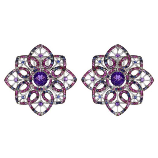 Chopard Temptations amethyst, sapphire, ruby and tourmaline earrings as seen on Rihanna