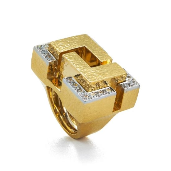 David Webb gold and diamond Cubist ring as seen on Rihanna