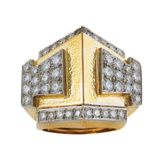David Webb Prism diamond and gold ring as seen on Rihanna