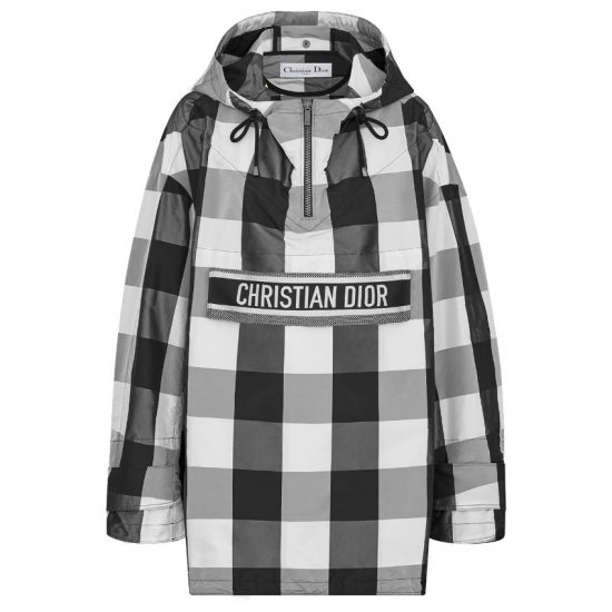 Dior black and white hooded check anorak as seen on Rihanna