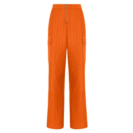 Fenty quilted baggy pants in burnt orange as seen on Rihanna