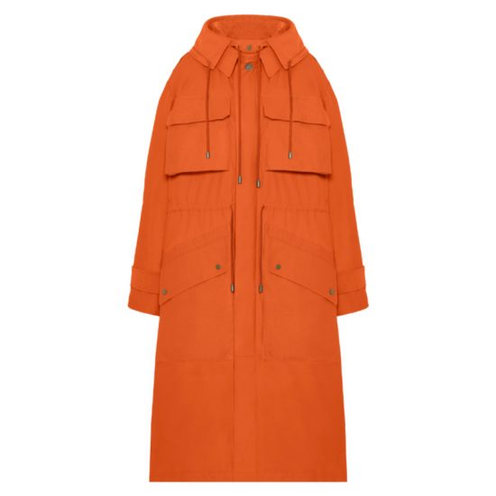 Fenty trench-inspired parka in burnt orange as seen on Rihanna
