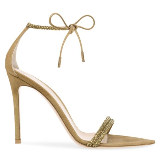 Giuseppe Zanotti Montecarlo gold suede crystal-embellished sandals as seen on Rihanna