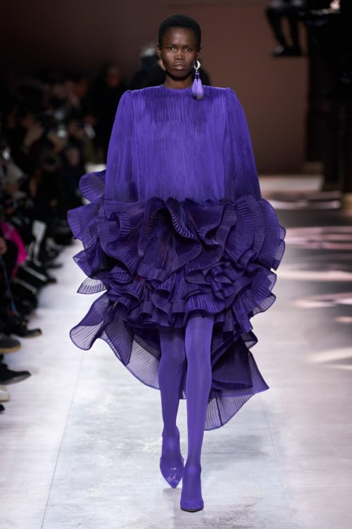 Givenchy Spring 2020 couture purple ruffled gown as seen on Rihanna