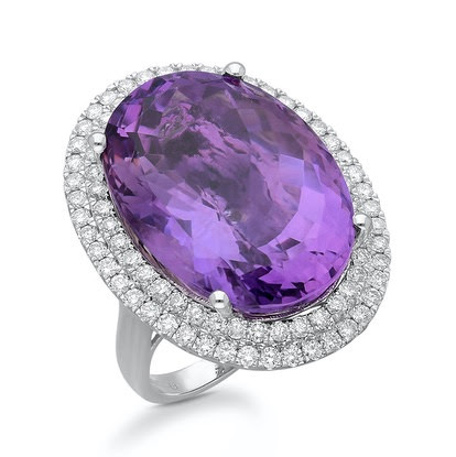 Kallati purple gemstone and diamond cocktail ring as seen on Rihanna