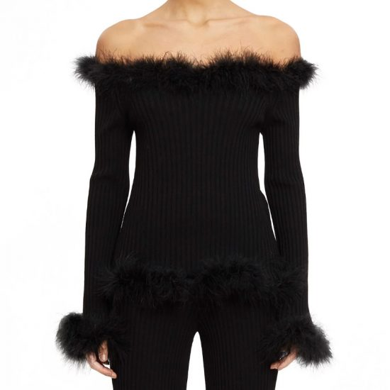 Opening Ceremony black off-the-shoulder feather sweater as seen on Rihanna