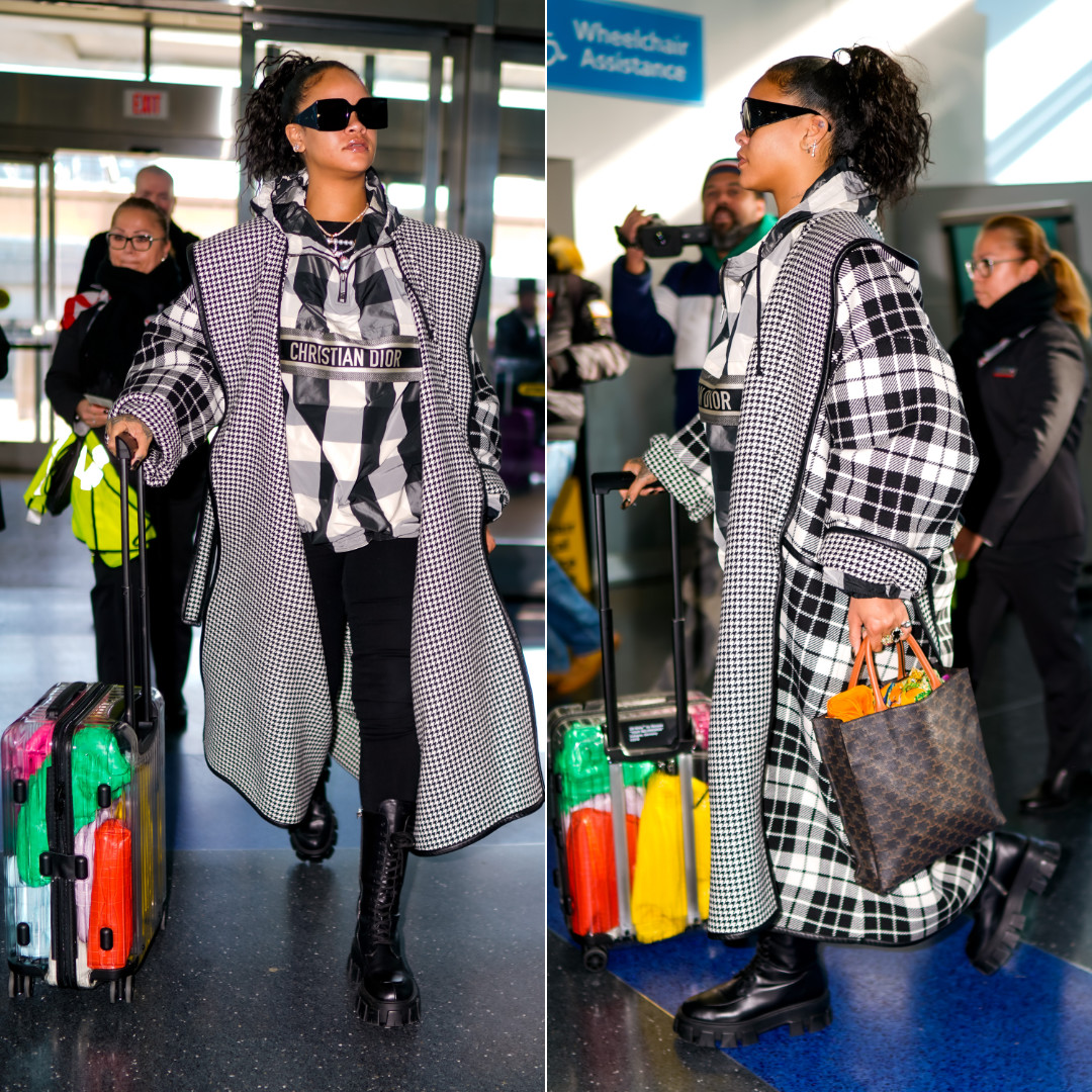 Rihanna check houndstooth coat black white Balenciaga, Dior hooded anorak, Prada Monolith boots, Celine square sunglasses and Vertical Cabas tote, Rimowa x Off-White clear transparent suitcase, Bottega Veneta The Pouch clutch, the Padded Cassette shoulder bag and Lauren 1980 clutch