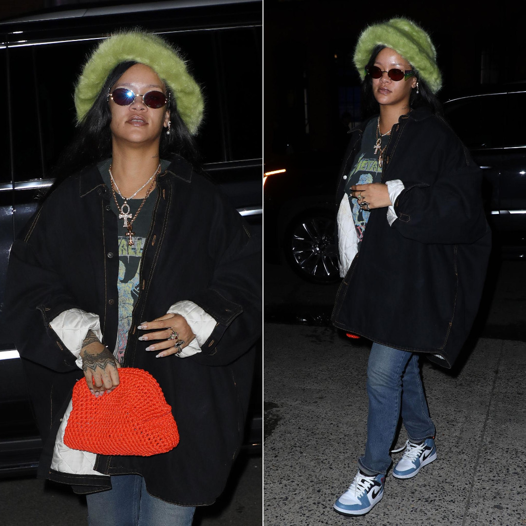 Rihanna green fur hat Emma Brewin, Metallica vintage t-shirt, Nike x Facetasm Air Jordan 1 blue sneakers, Bottega Veneta orange clutch, Fenty Side Note rainbow sunglasses, Raf Simons denim jacket, Satta Matturi totem maske earrings, Shay black diamond heart ring, Chrome Hearts cross pendant