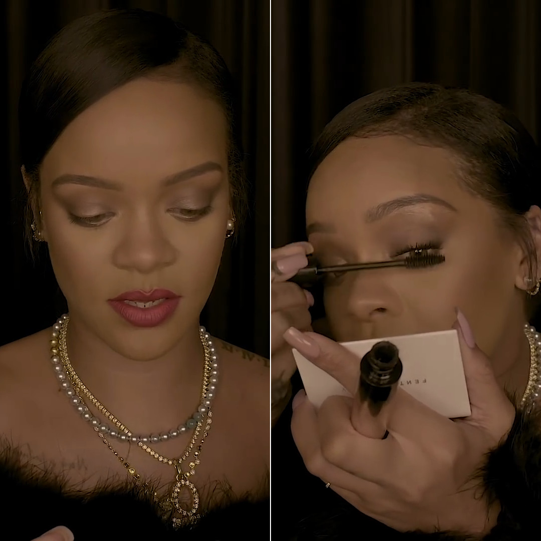 Rihanna black feather off shoulder top Opening Ceremony Fenty Beauty full frontal mascara tutorial, XIV karats yellow diamond necklace, Jacquie Aiche mini shaker diamond hoop earrings, Maria Tash hoop earrings