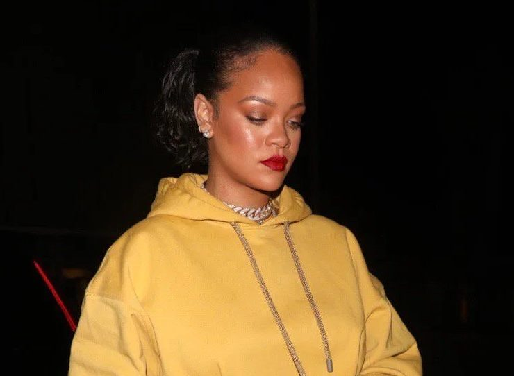 Rihanna yellow hoodie dress Fenty