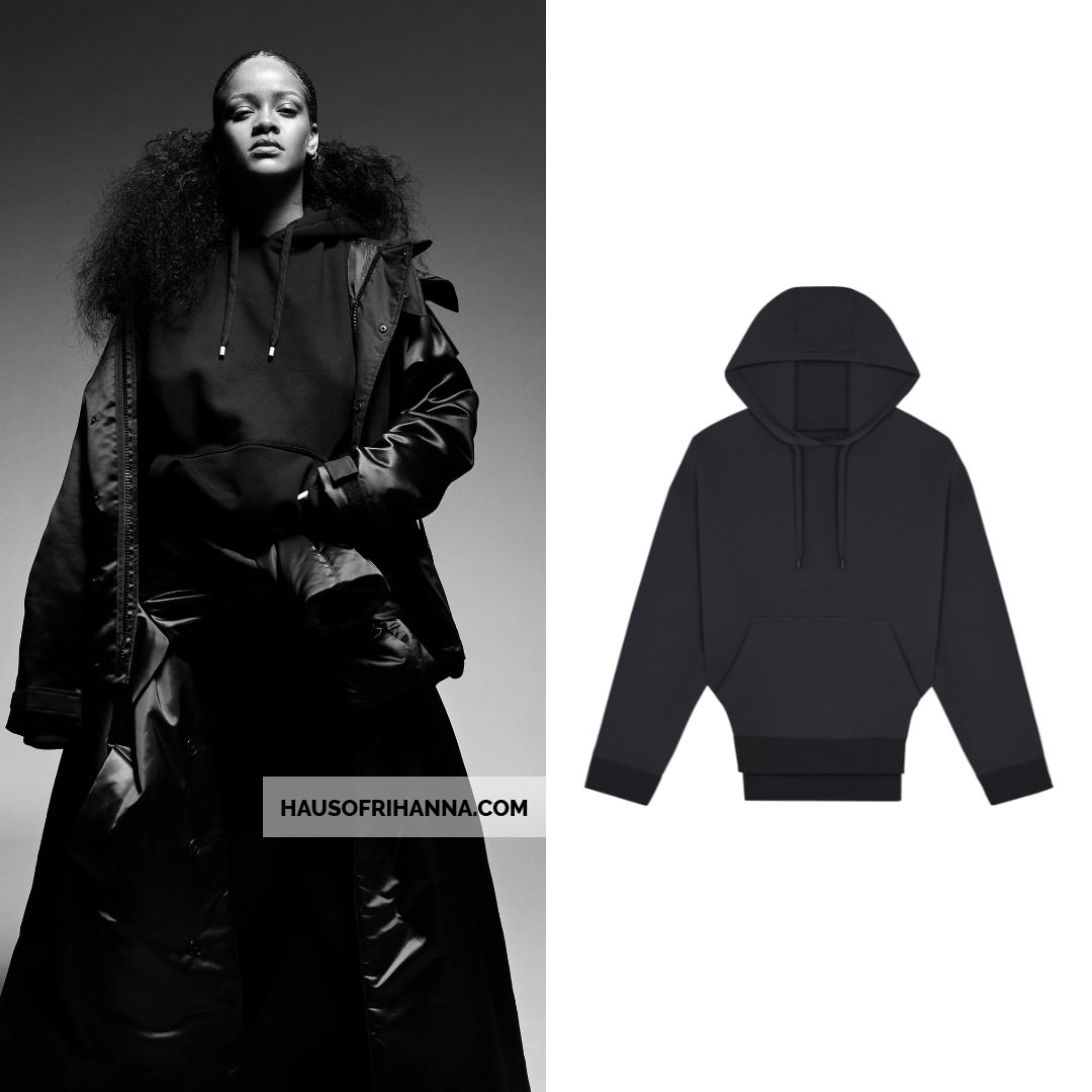 Rihanna i-D magazine Fenty black jacket, coat and hoodie