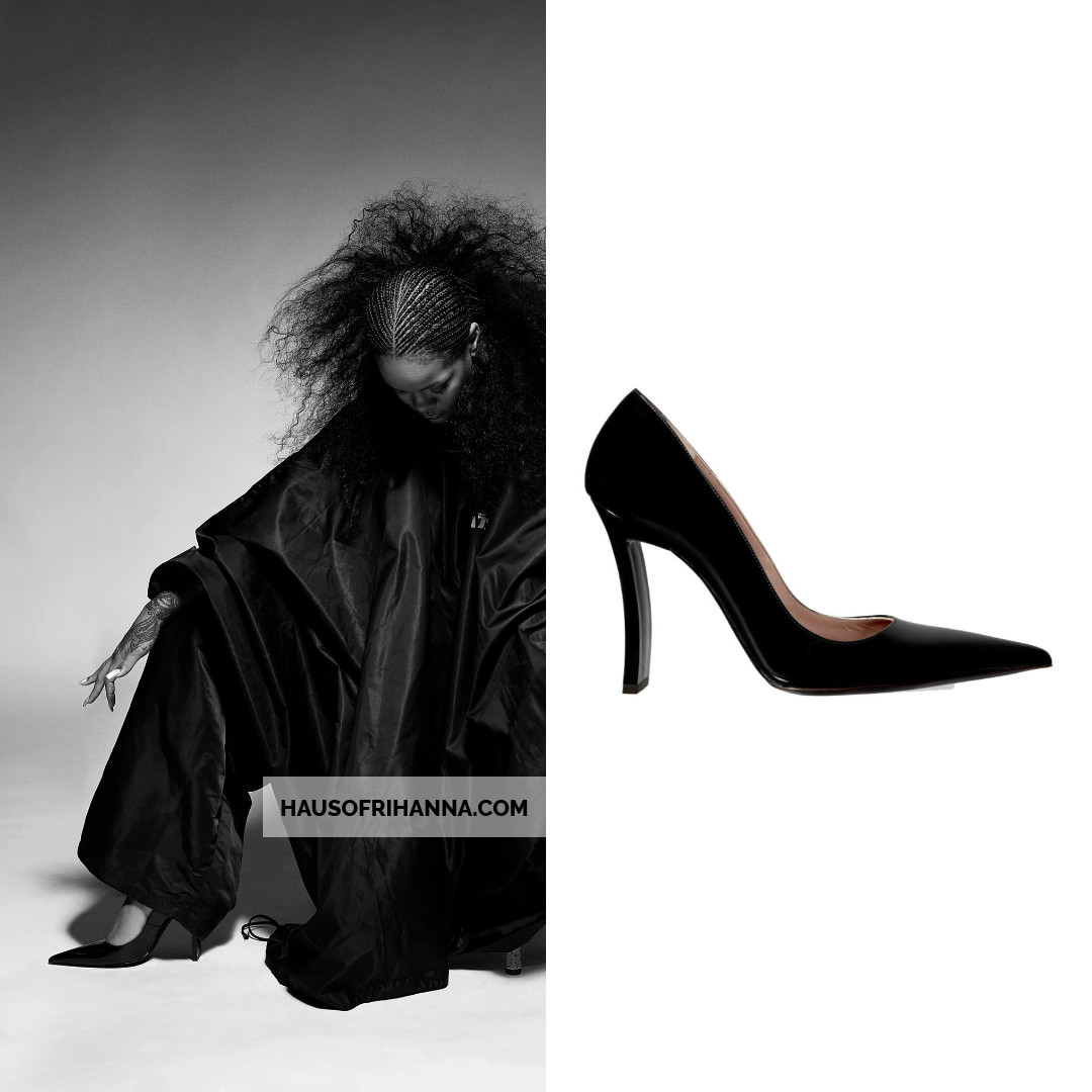 Rihanna i-D magazine Fenty black Power Point pumps