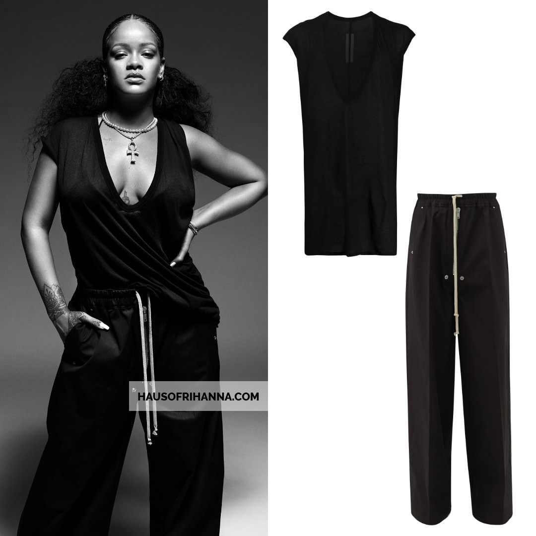 Rihanna i-D magazine Rick Owens v-neck sleeveles t-shrit and stud wide leg drawstring pants, Rafaello and Co diamond ankh necklace, Jade Swim Via bikini top, Fenty Trouble sunglasses