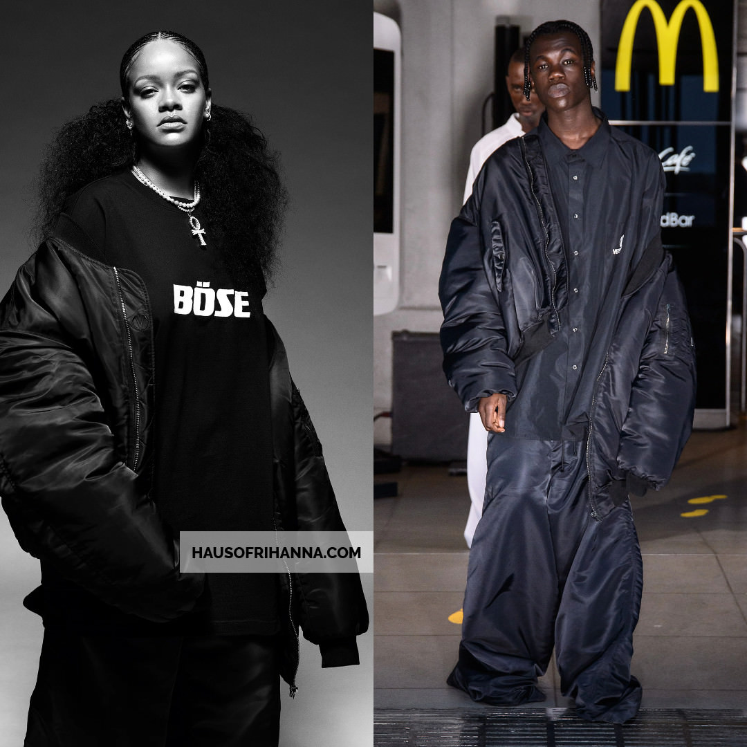 Rihanna i-D magazine Vetements bomber jacket, Bose t-shirt and oversized pants