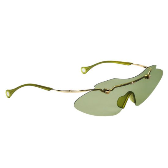 Fenty Centerfold Mask sunglasses in green as seen on Rihanna