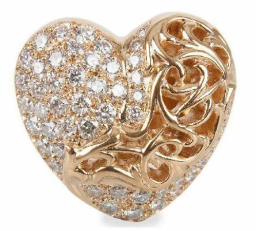 Chrome Hearts gold and diamond heart-shaped ring as seen on Rihanna