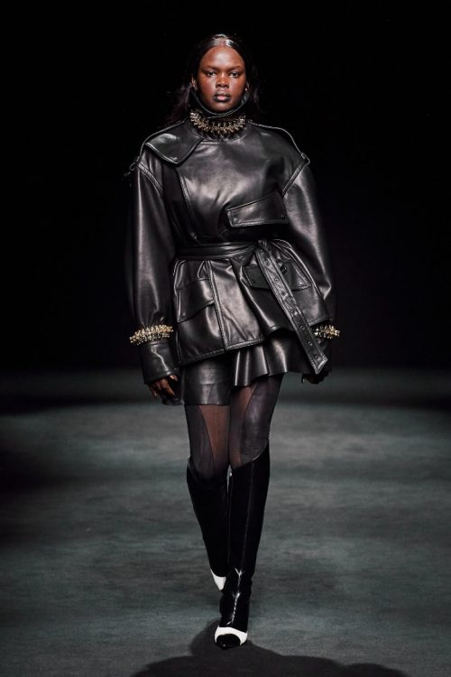 Thiery Mugler fall 2020 leather jacket and skirt as seen on Rihanna