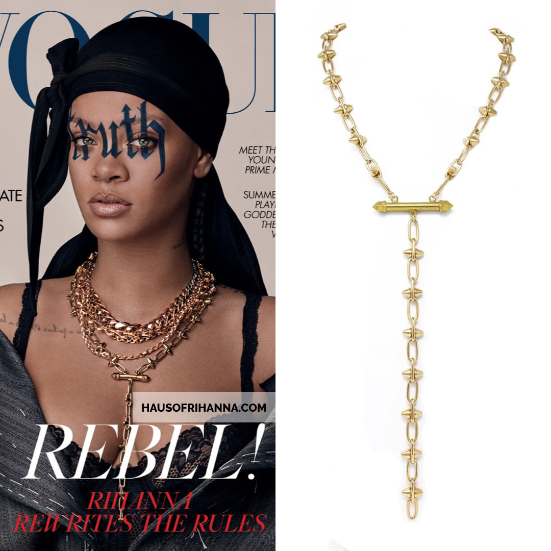 Rihanna British Vogue May 2020 Laura Cantu gold spike necklace