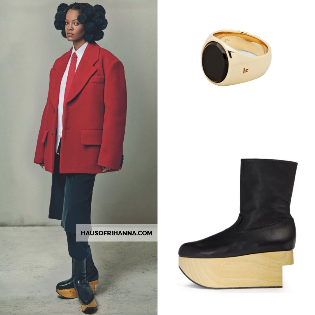 Rihanna British Vogue May 2020 Prada red blazer, Giorgio Armani custom trousers and Ludovic de Saint Sernin pants, Vivienne Westwood rocking horse boots, Tom Wood gold and onyx ring