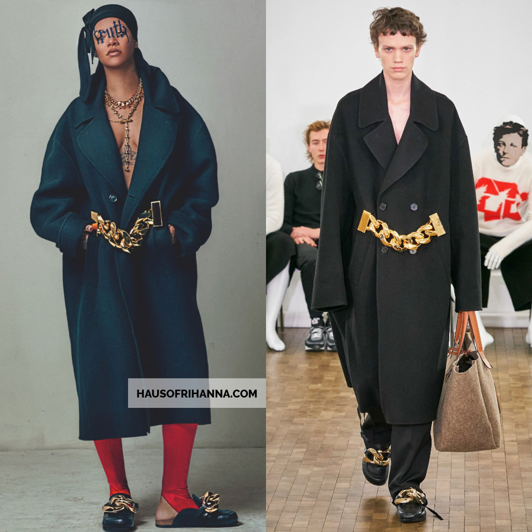 Rihanna British Vogue May 2020 JW Anderson wool coat with gold belt and leather loafers, La Perla red leggings, Chrome Hearts necklace, Laura Cantu lariat necklace