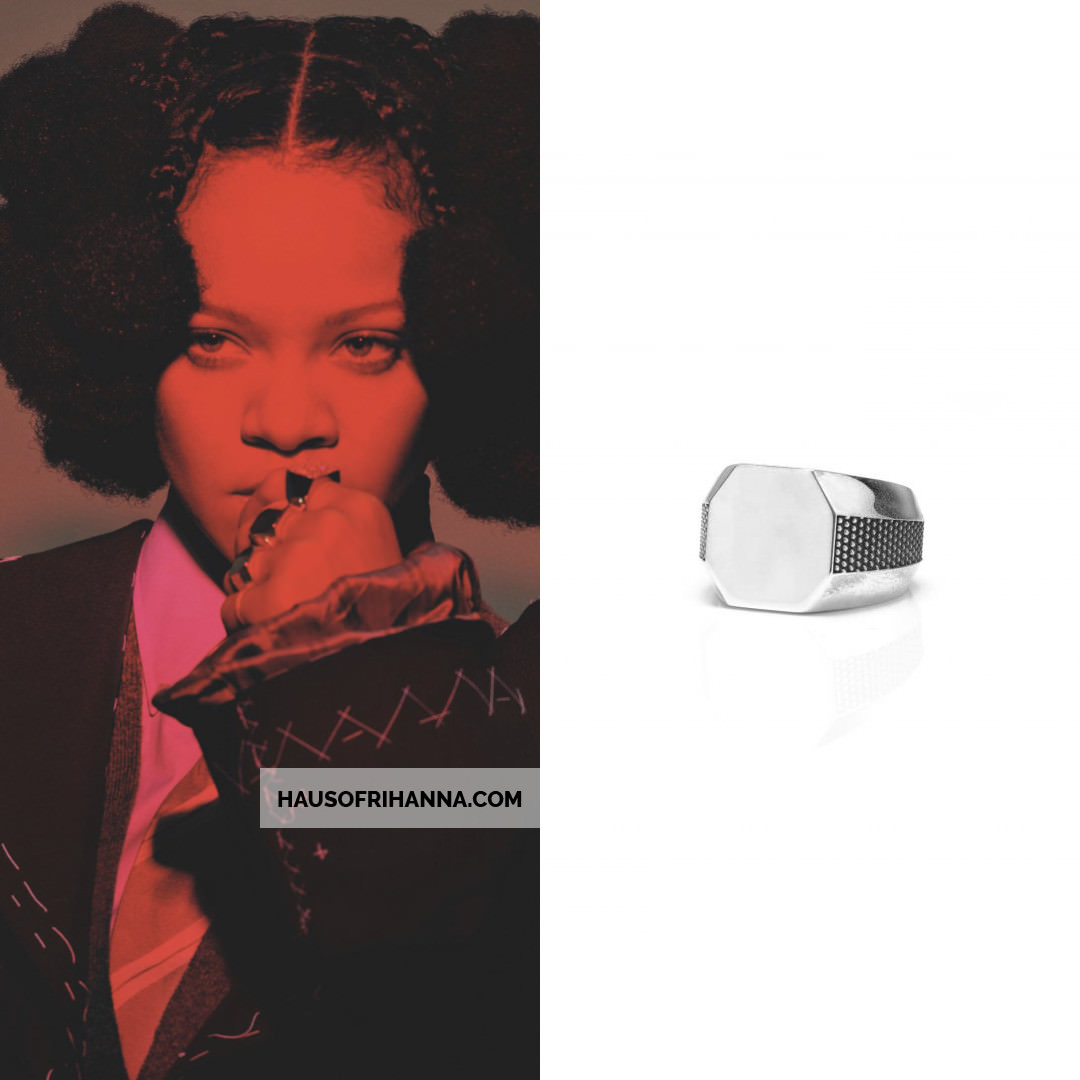 Rihanna British Vogue May 2020 Margiela Couture jacket with tulle, Emanuele Bicocchi rings, Peter Do signet ring