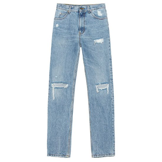 Gucci distressed light blue straight jeans as seen on Rihanna