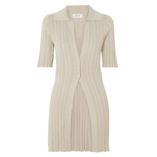 The Line by K Daisy beige three button cardigan as seen on Rihanna