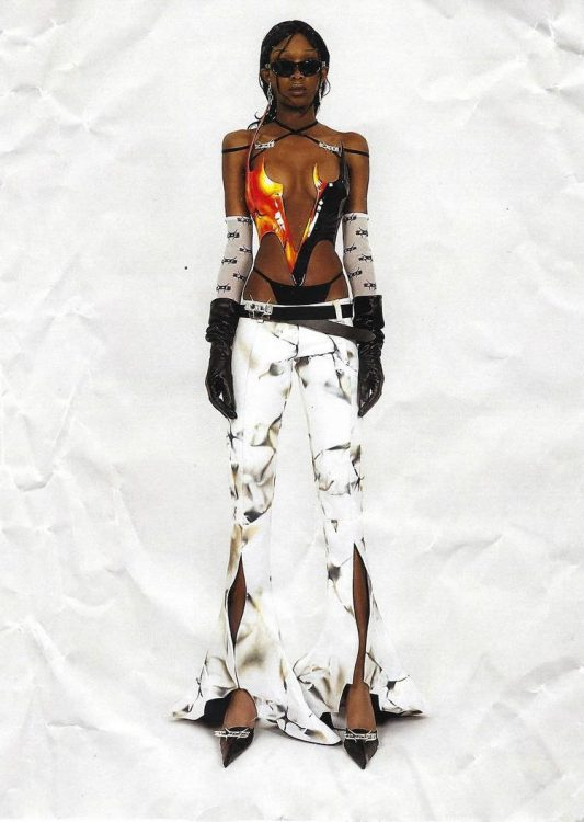 Luis de Javier Spring 2021 tie-dye print leather pants with ruffled hem slits as seen on Rihanna