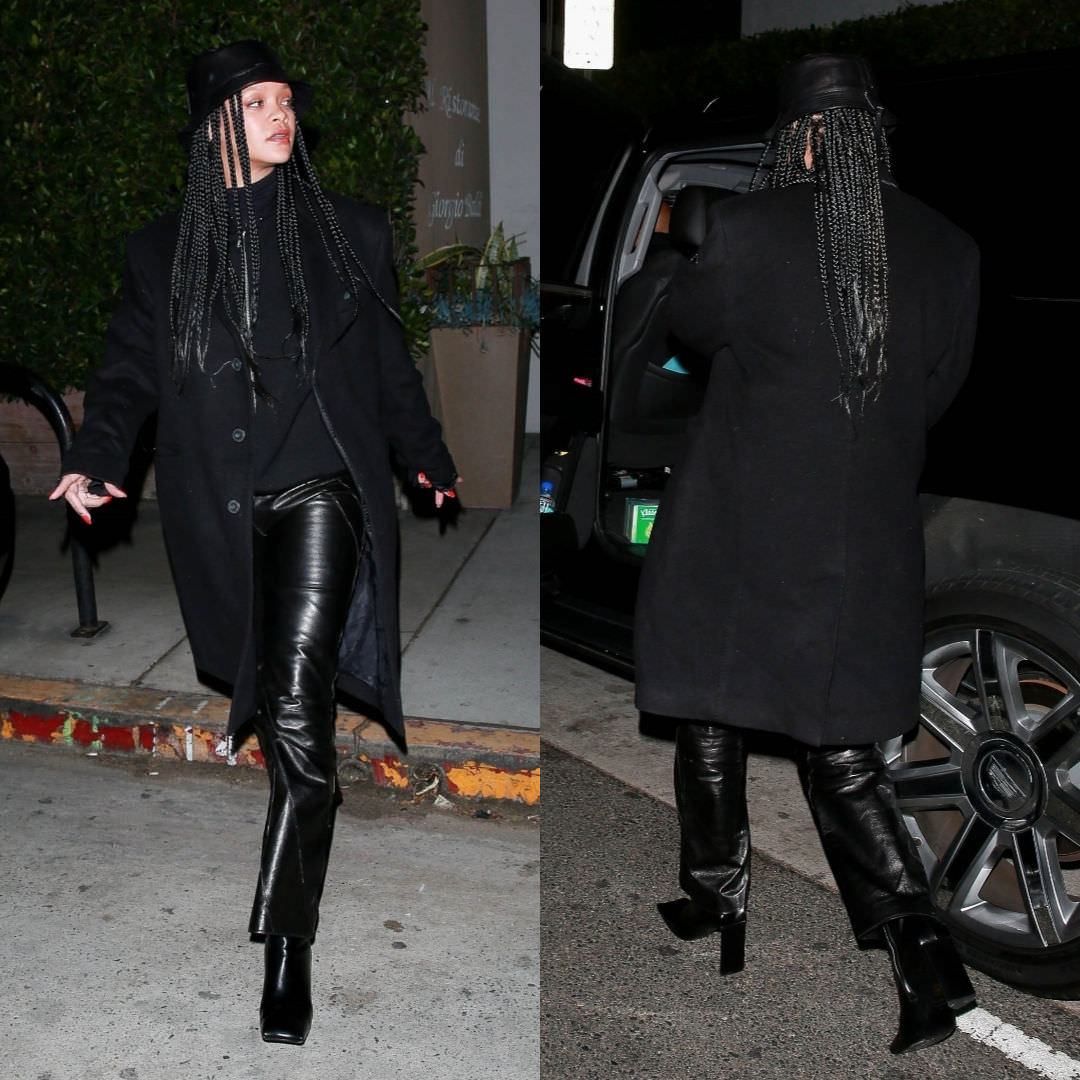 Rihanna leather bucket hat by Loewe, Balenciaga black moon ankle boots, Christian Dior vintage black leather pants