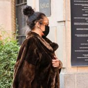 Rihanna in Fendi vintage fur coat