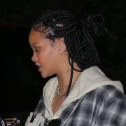 Rihanna oversized plaid coat