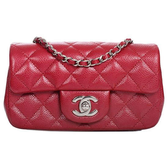 Chanel red extra mini classic flap bag as seen on Rihanna
