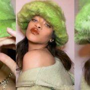 Rihanna in Emma Brewin green fur bucket hat