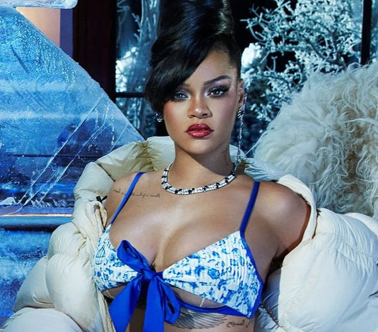 Rihanna in Savage x Fenty blue and white bra