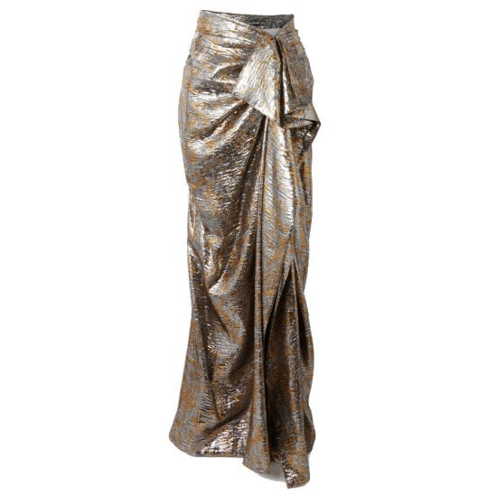 Dries Van Noten silver gold metallic draped wrap lame maxi skirt as seen on Rihanna