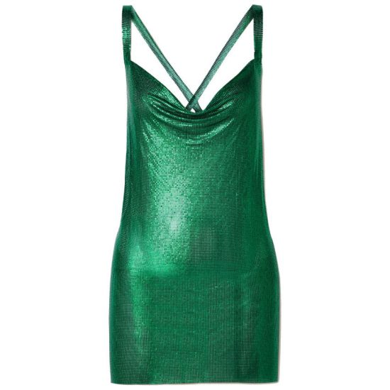 Fannie Schiavoni green chainmail mini dress as seen on Rihanna
