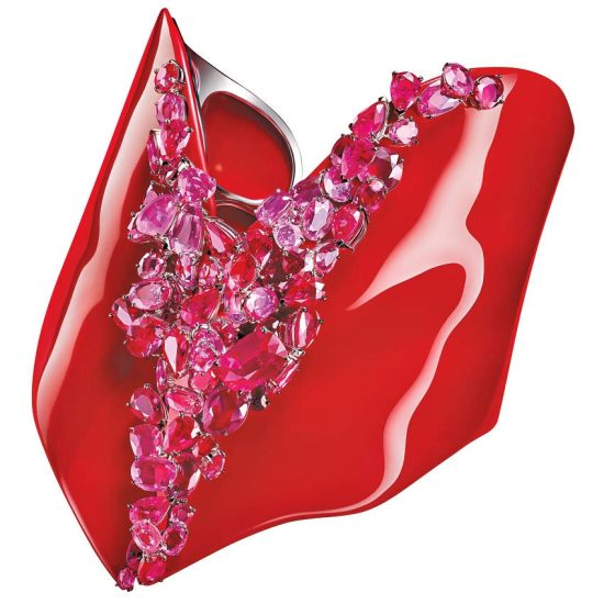 Feng J Coeur Rouge ruby, sapphire and enamel bangle cuff as seen on Rihanna